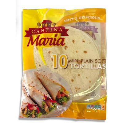 خبز التورتيلا الصغير من الطحين الأبيض كانتينا ماريا جملة Plain Soft Mini Tortillas 10 Pieces Cantina Maria Jumla